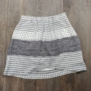 Madewell Black and White Silk Skirt